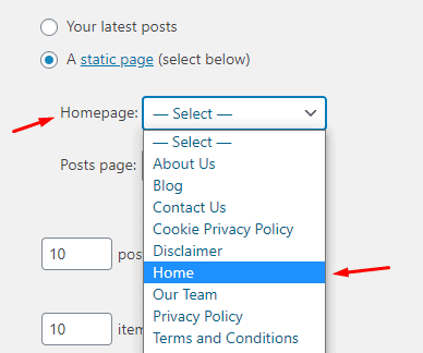Set Homepage as Static Page in WordPress